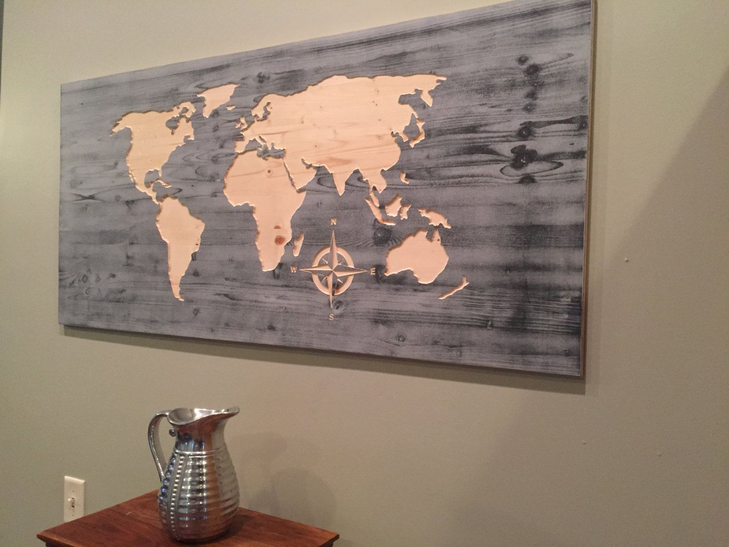 carved world map wall art wooden world map world map decal carved compass