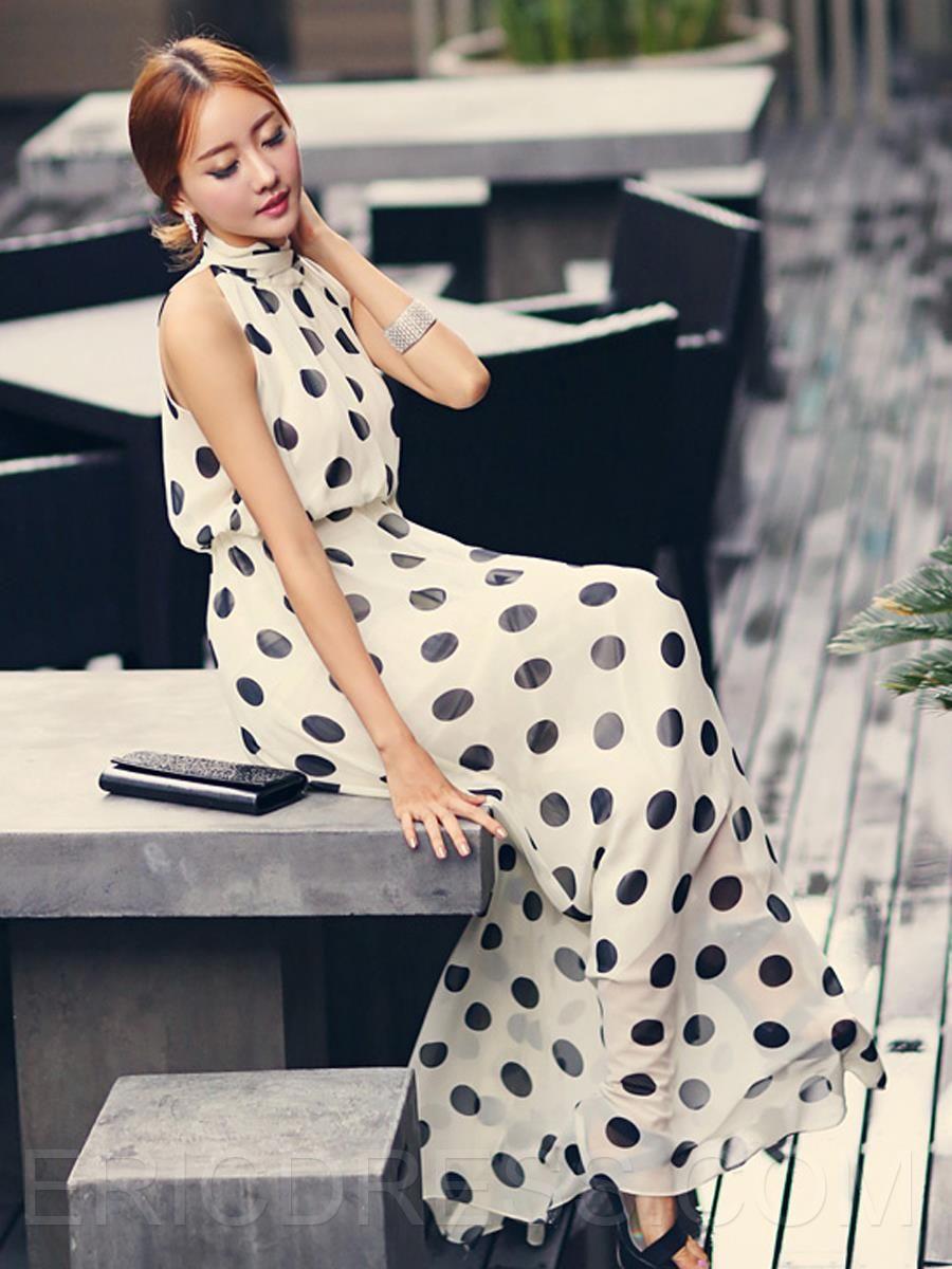 Ericdress black polka dots maxi dress fashion inspiration