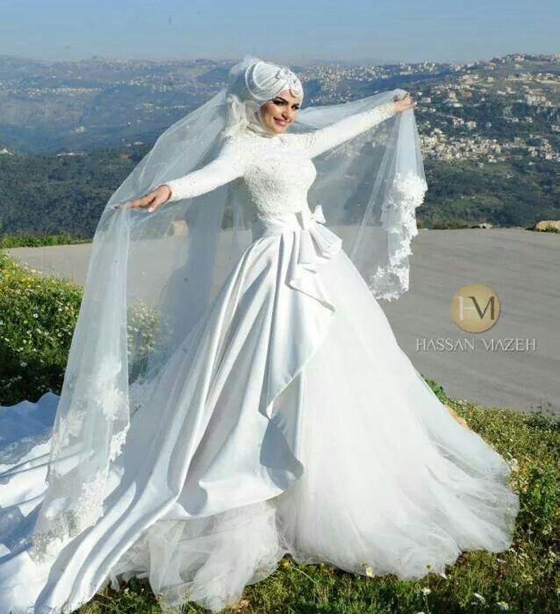 Elegant Long Sleeve Wedding Dresses Muslim Dress 2015: Elegant Long Sleeve Muslim Wedding Dresses High Collar