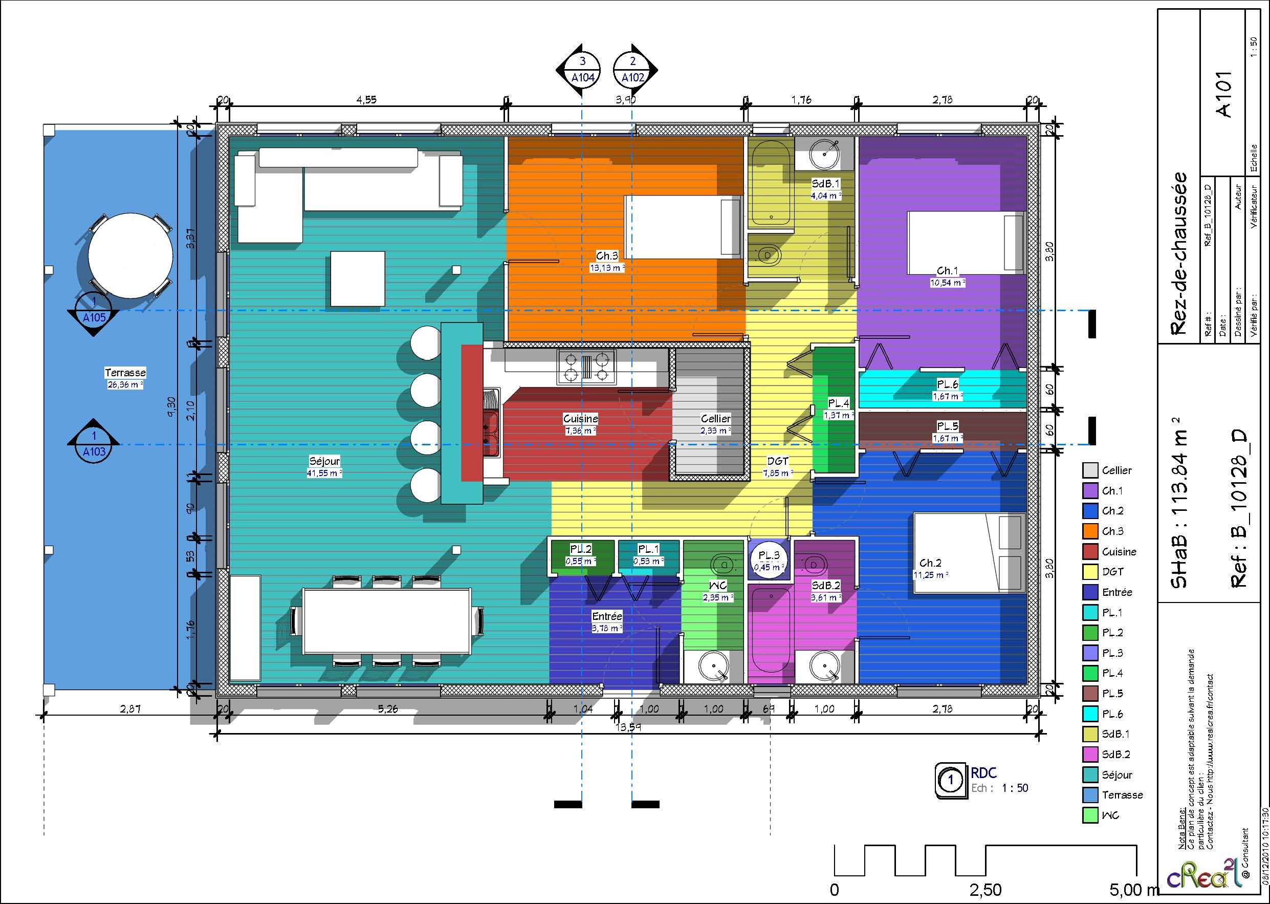 Plan de grande maison ossature bois de plain pied