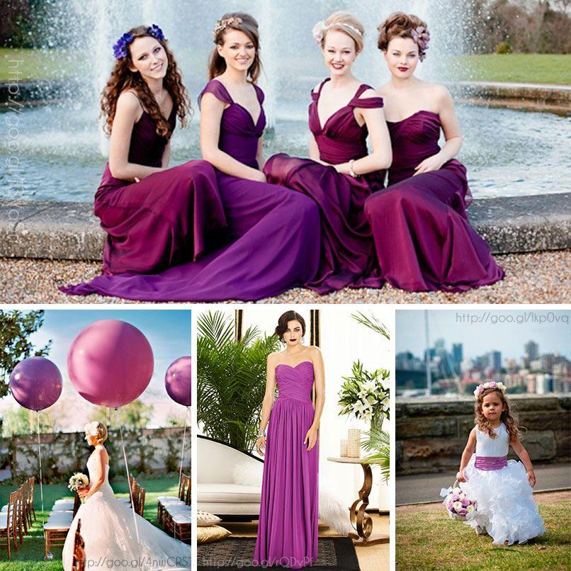 Damas de honor en color #RadiantOrchid #Bridesmaids #dress #Wedding ...