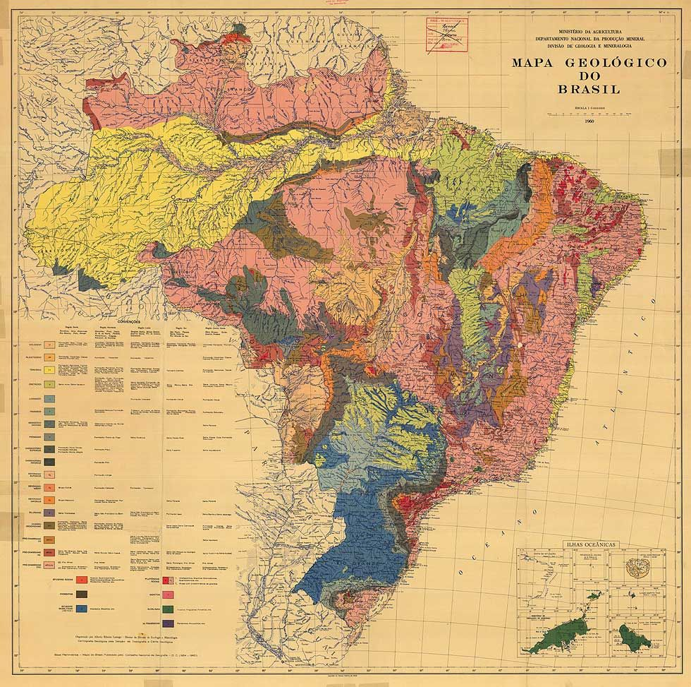 Geological Map Of Brazil 1960 Maps Map Scale Map Brazil