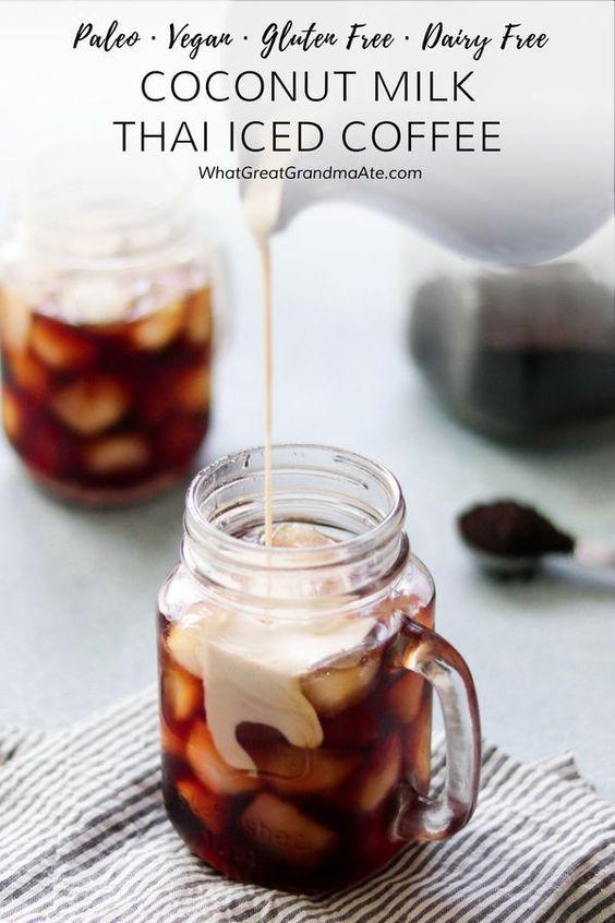 Kokosmilch Thai Eiskaffee (Paleo, Vegan) -