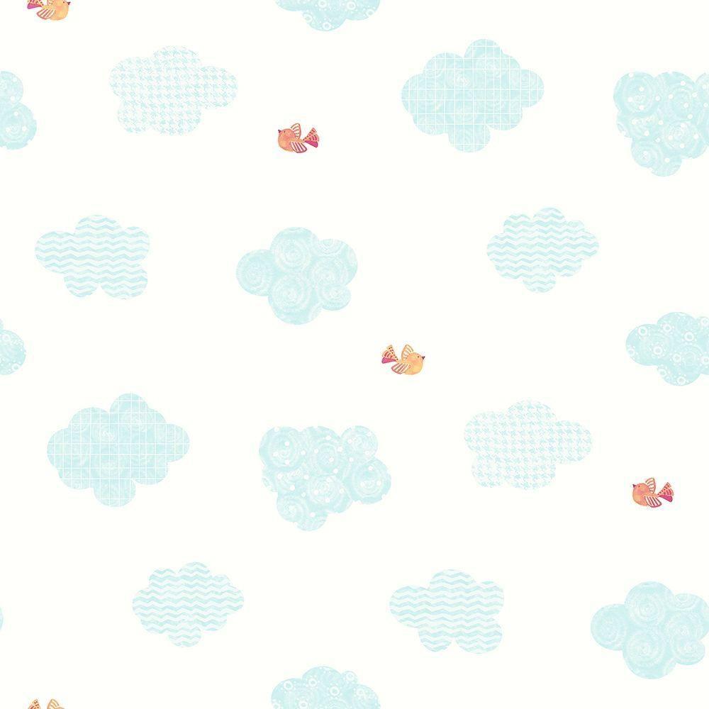 NoahS Aqua Blue Clouds Wallpaper Sample