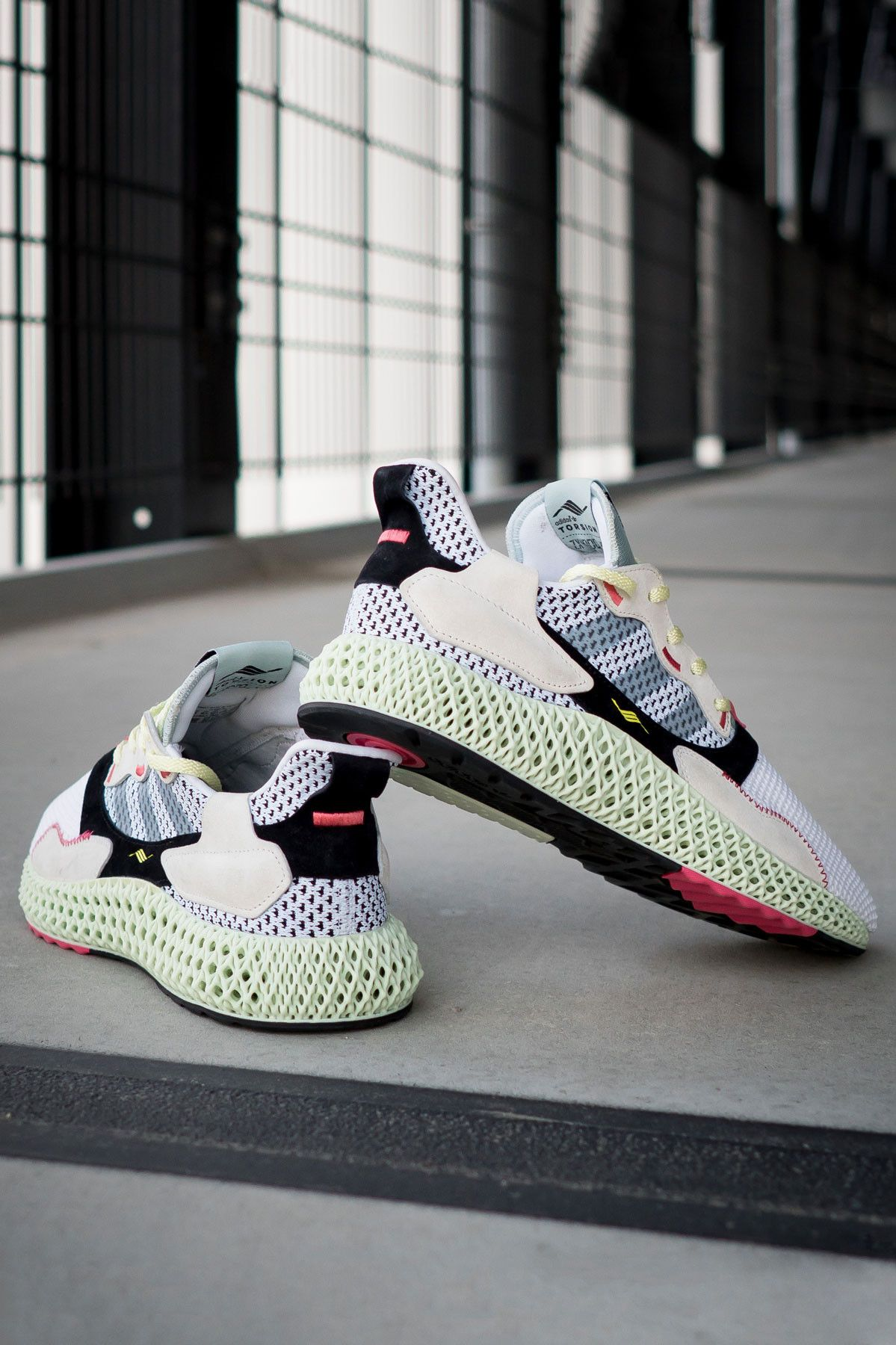 cbbd68c1b adidas zx 4000 4d sample randy galang futurecraft fall winter 2018 black  tan beige white mesh woven cream B42203 FTWR WHT GREY TWO LINEN GREEN back  rear ...