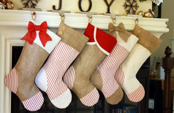 Set Of Five 5 Christmas Stockings With Burlap And By Burlapbabe