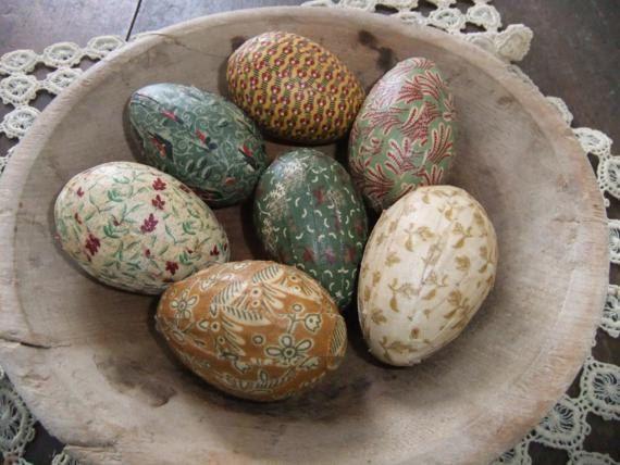 Primitive Fabric Covered Eggs Farmhouse Decor Primitive Decor Easter Decor