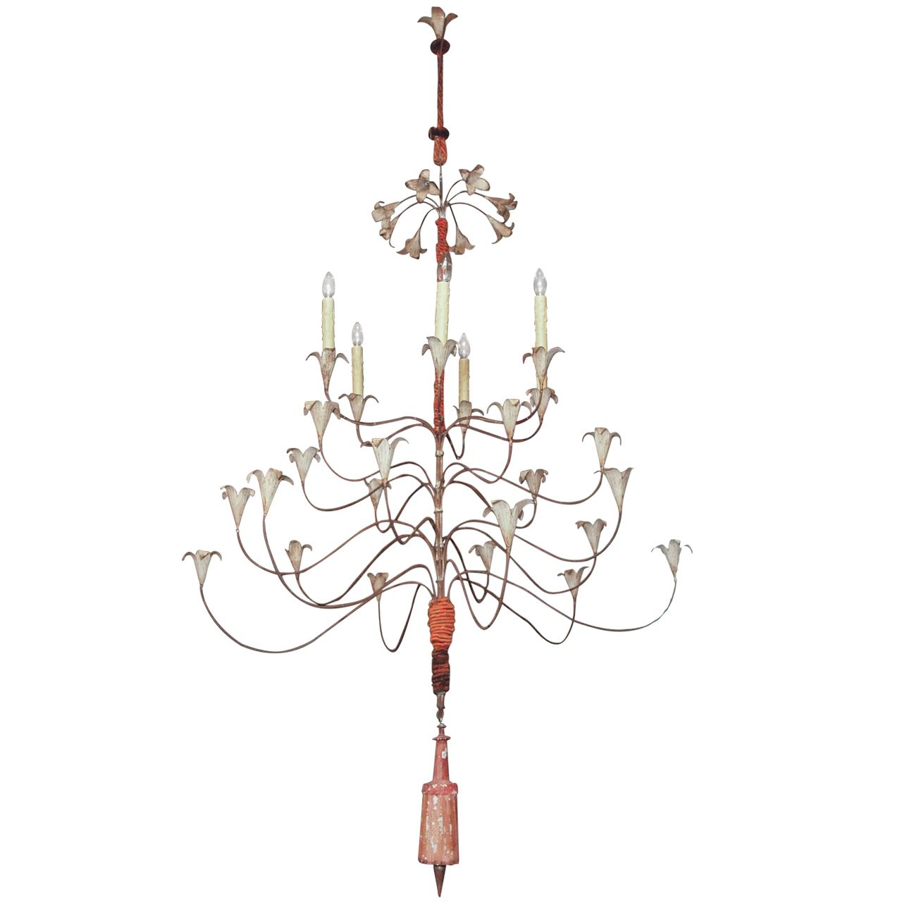 Large painted iron and passementerie chandelier chandeliers iron