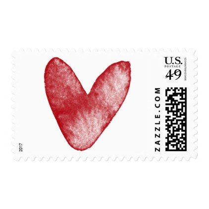 Bold Red Watercolor Heart 15 Valentine Wedding Postage