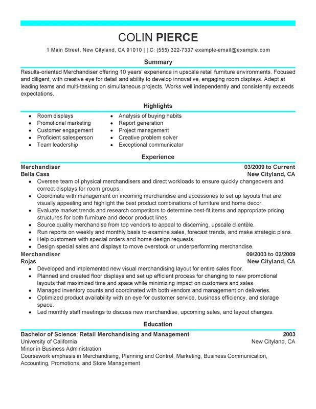 Merchandiser Retail Representative Part Time Resume Sample - My - the perfect resume examples