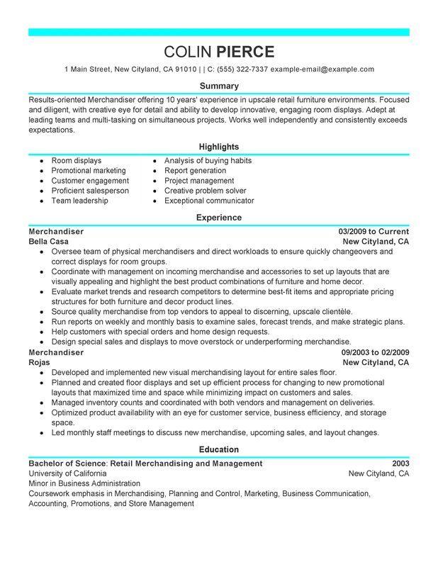 resume ideas for merchandising