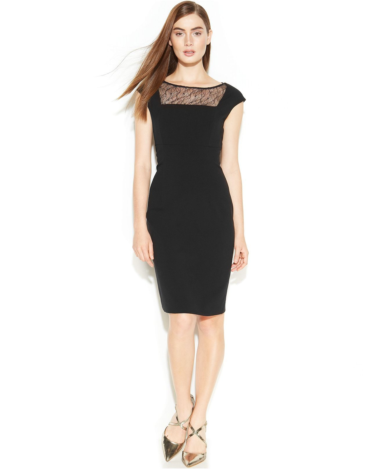 d666a3a6982ea Calvin Klein Cap-Sleeve Illusion Lace Sheath - Dresses - Women - Macy s