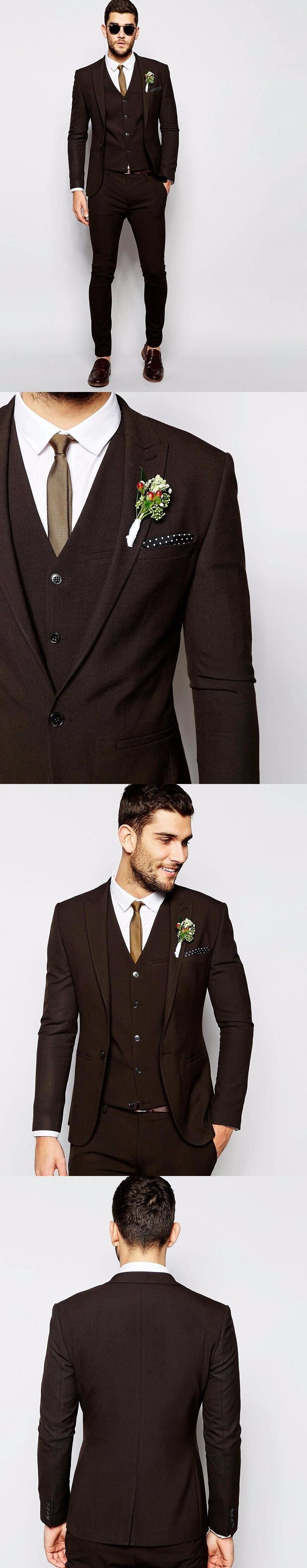 Fashionable Brown Groom Tuxedos Groomsmen Mens Wedding Suits Prom ...