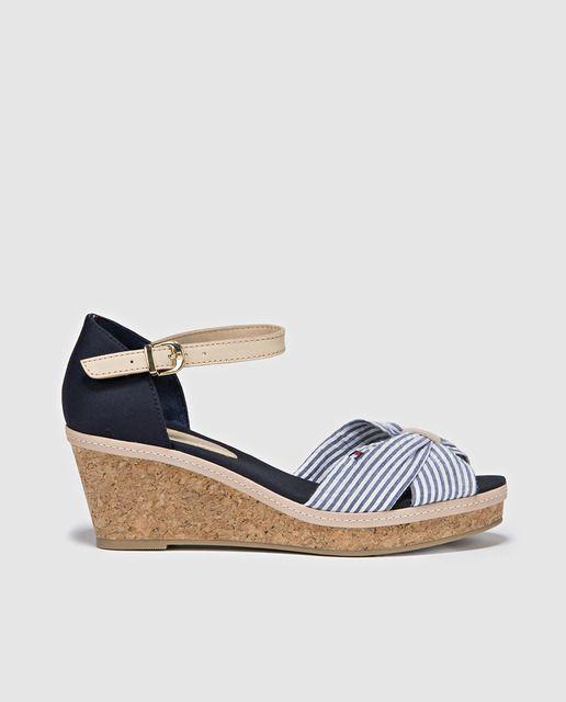 Sandalias de cuña de mujer Tommy Hilfiger de algodón azul marino