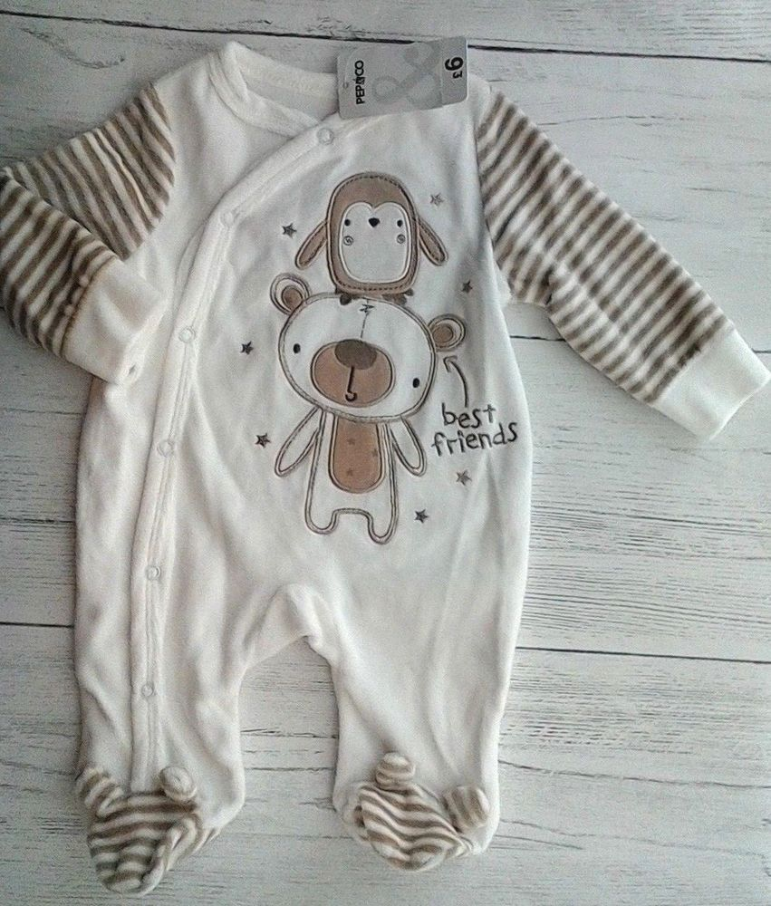 868fc5fda Baby Velour Sleepsuit 0-3 months Cream Brown Pep Co BNWT
