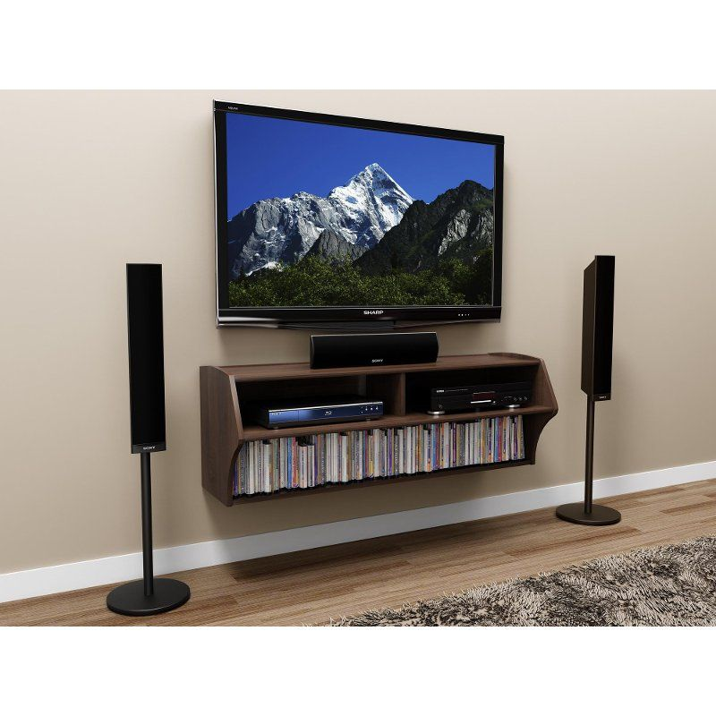 Espresso Wall Mounted A V Console Altus In 2020 Wall Mount Entertainment Center Wall Mount Tv Stand Wall Mounted Tv