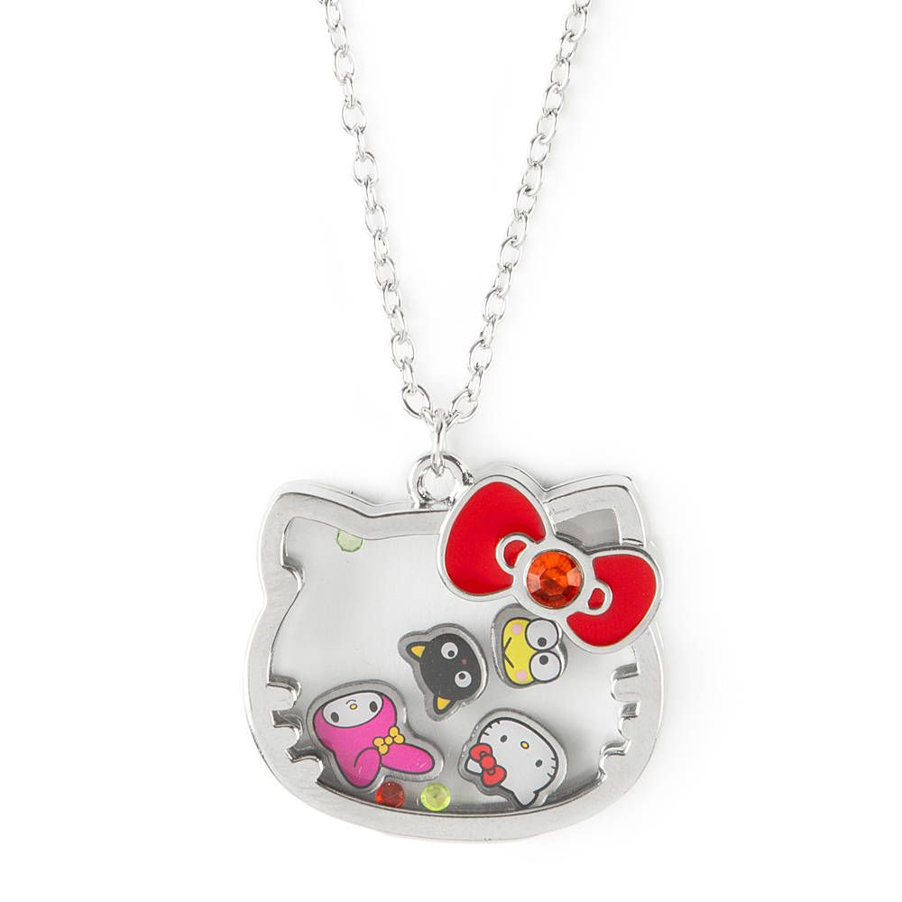 Hello kitty 40th anniversary floating charm pendant necklace hello kitty 40th anniversary floating charm pendant necklace claires mozeypictures Images