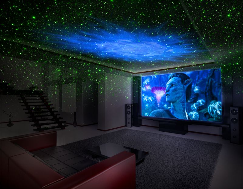 GALAXY 3D LASER LIGHT SHOW | Space themed bedroom, Movie theater rooms,  Space themed room
