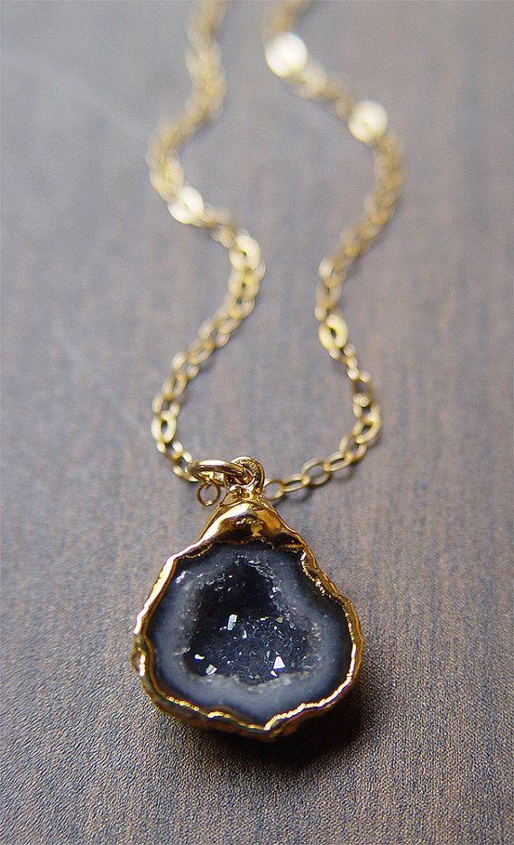Half Geode Black and Gray Druzy Quartz Gold Plated Stone Pendant
