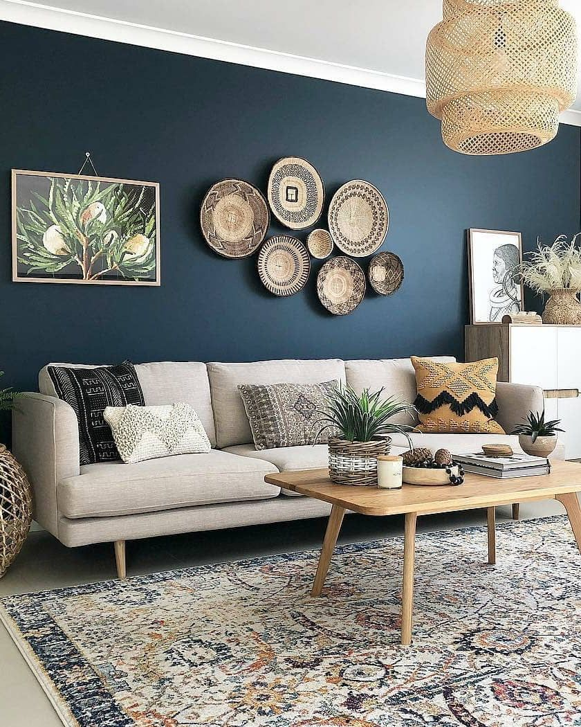 The Carpet S Pattern Has The Perfect Set Of Colors To Draw All Of The Room Together The P In 2020 Interior Design Living Room Warm Blue Living Room Living Room Colors