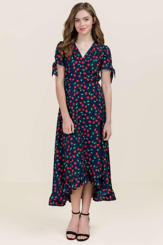 748b920aadd9 Cherry Ruffle Wrap Maxi Dress