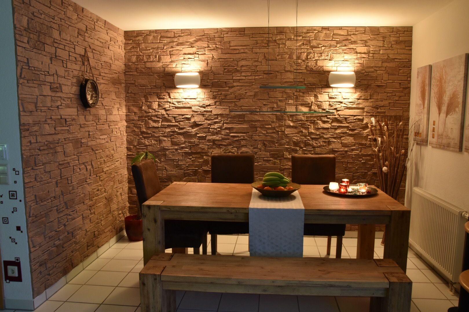 Steinwände In Einem Warmen Ton. Wandgestaltung Steinoptik, Wandverkleidung  Steinoptik, Steine, Farben,
