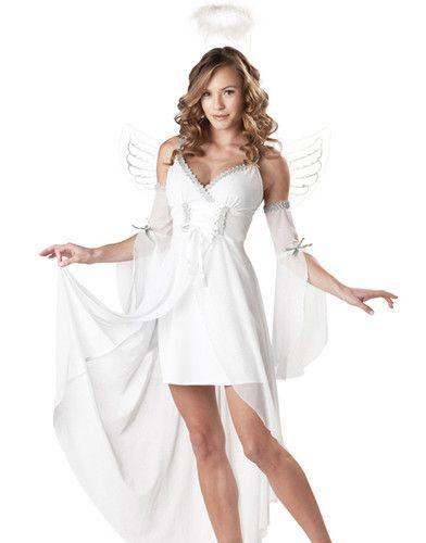 Womens White Sexy Heaven\u0027S Angel Adult Halloween Costume Dress Set - angel halloween costume ideas