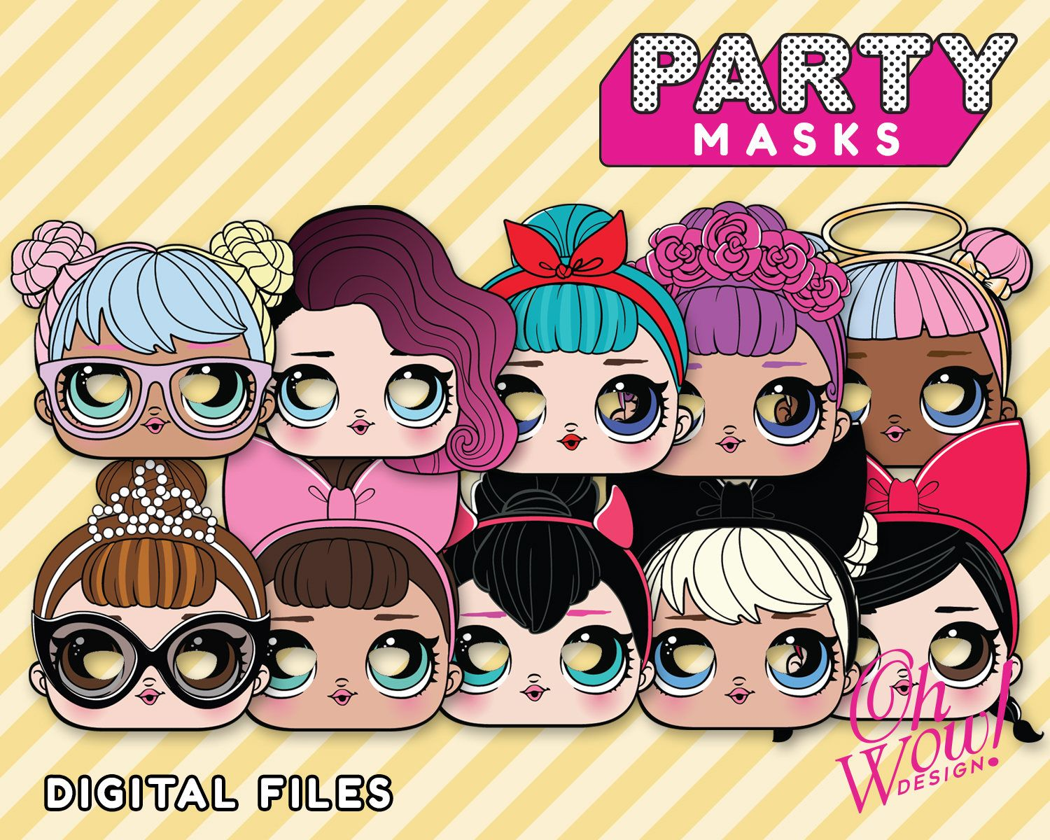 Lol Surprise Doll Inspired Masks Digital File Perfect For Photo