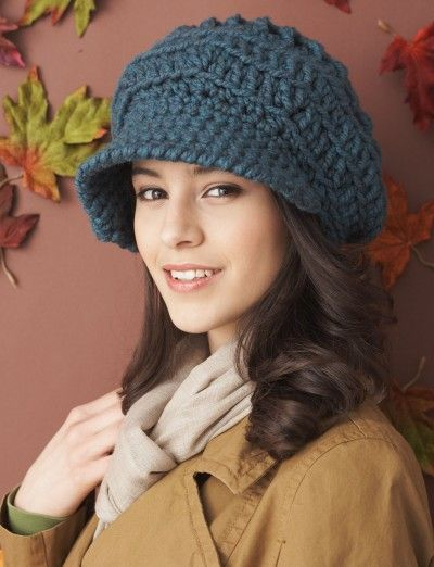 Slouchy Peaked Hat - free P chunky crocheted hat Yarnspirations - free p&l template