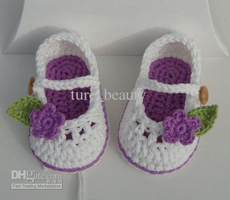 Handmade Crochet Baby Booties with Lilac Flowers, First Walker Shoes ...