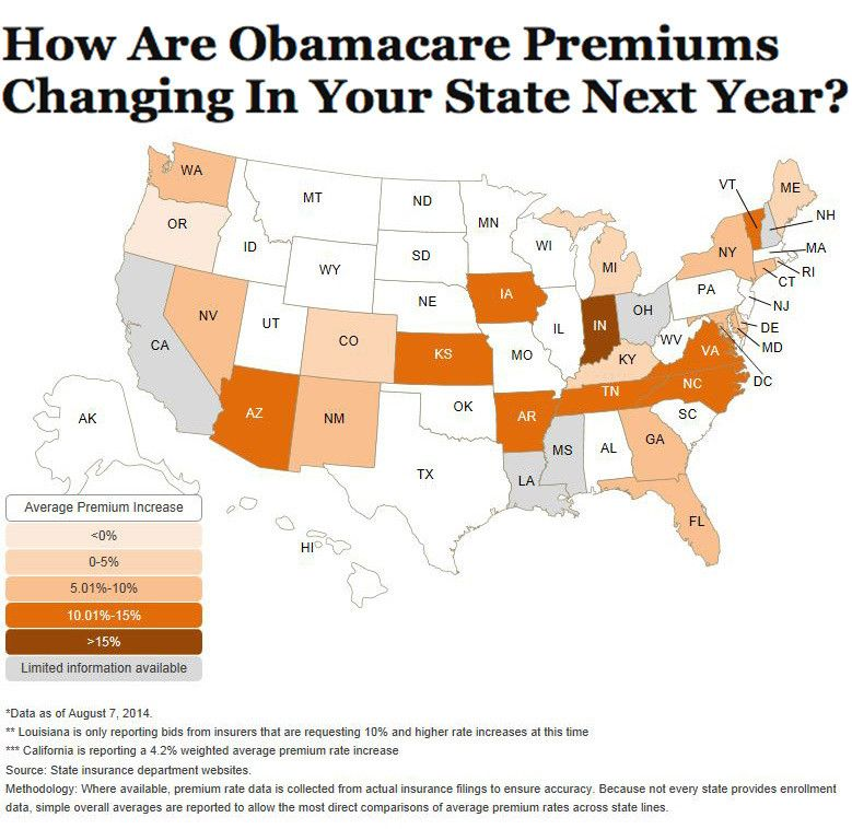 Here S What S Going On With Obamacare Premium Increases Health Insurance Supplemental Health Insurance Map