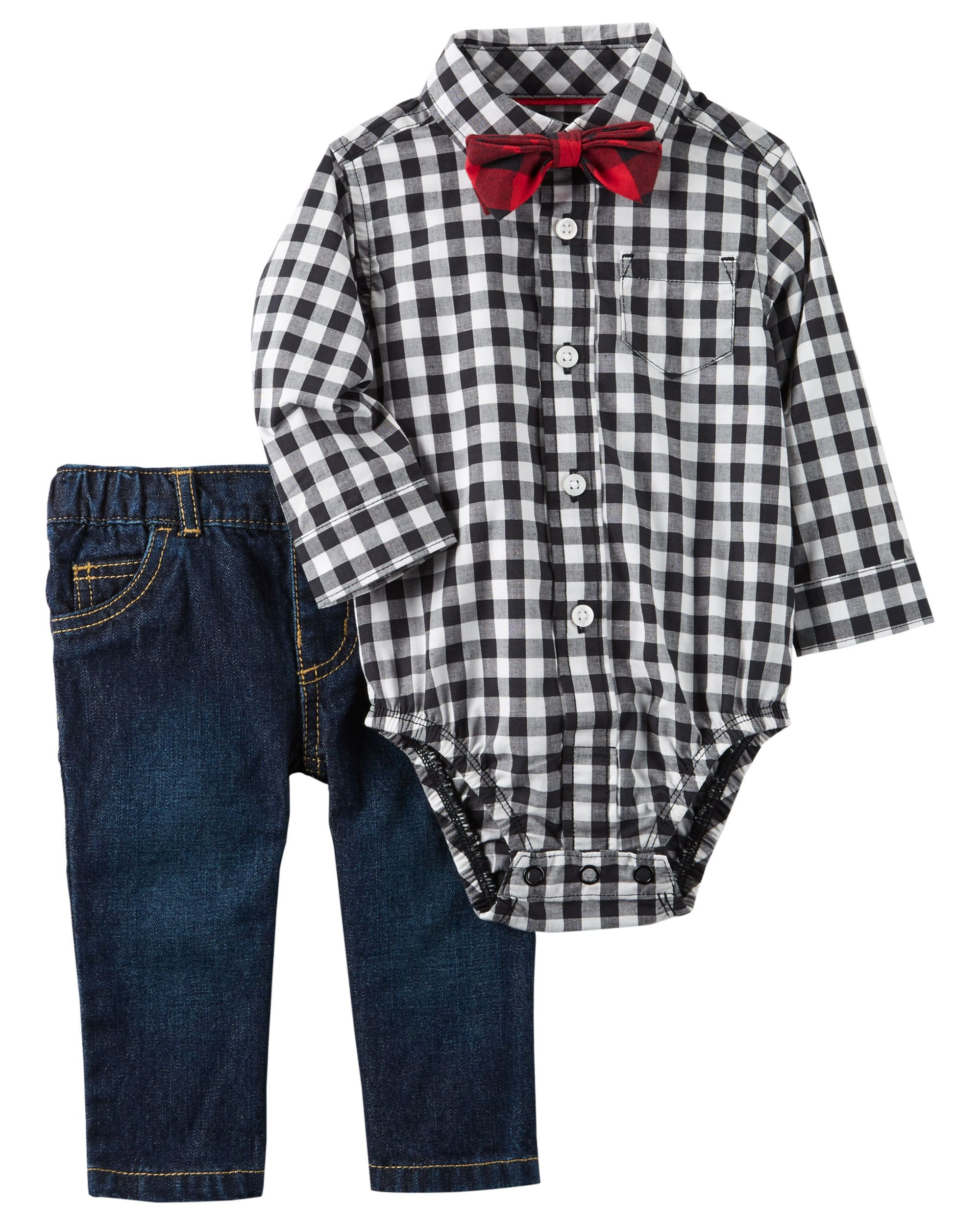 Flannel shirt for baby boy  Heus holidayready in a crisp buttonfront bodysuit and coordinating