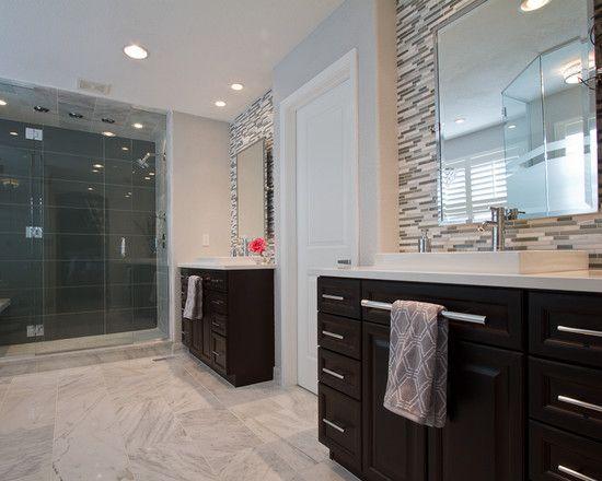 Petruzzi Master Bathroom; floor in 12x24 Carrara marble