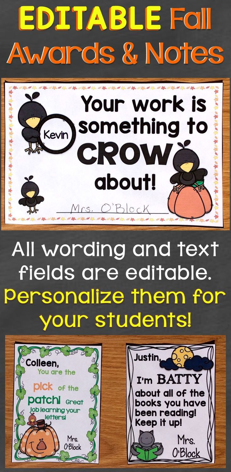 Fall Halloween Student Reward Certificates Notes Editable