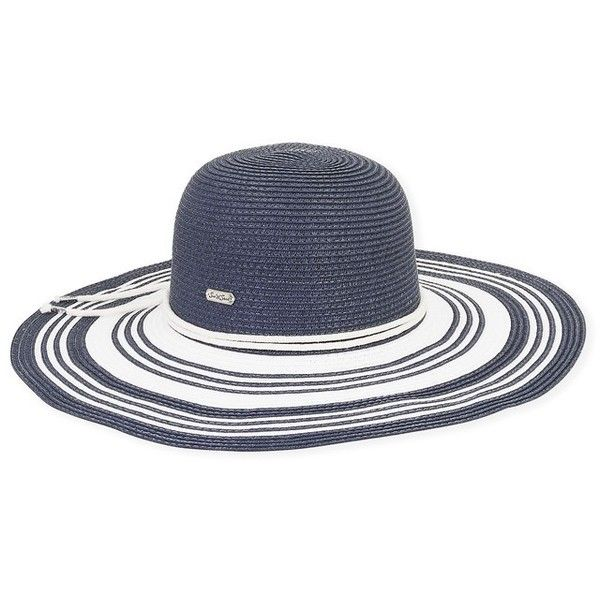 14fa4ab80c0a7 Sun N Sand Navy Stripe Hat (£29) ❤ liked on Polyvore featuring accessories