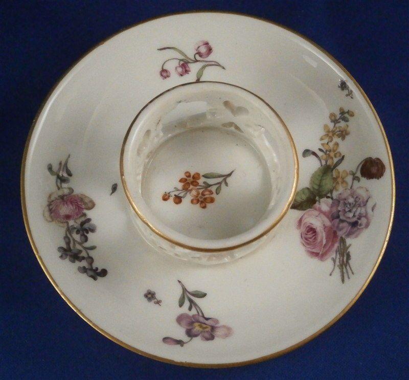 Rare 18thC Meissen Porcelain Trembleuse Saucer Porzellan Untertasse German 1740