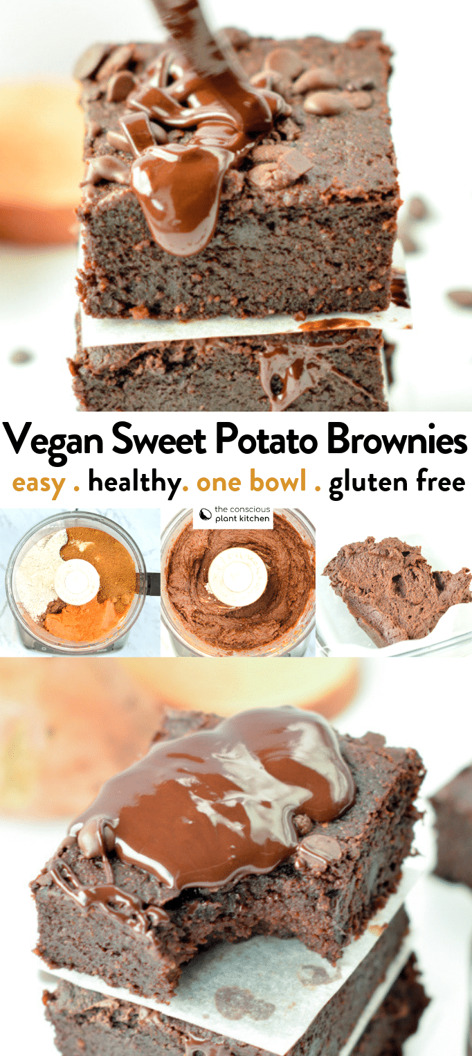 the BEST VEGAN SWEET POTATO BROWNIES easy, healthy fudgy recipe with less 10 ingredients