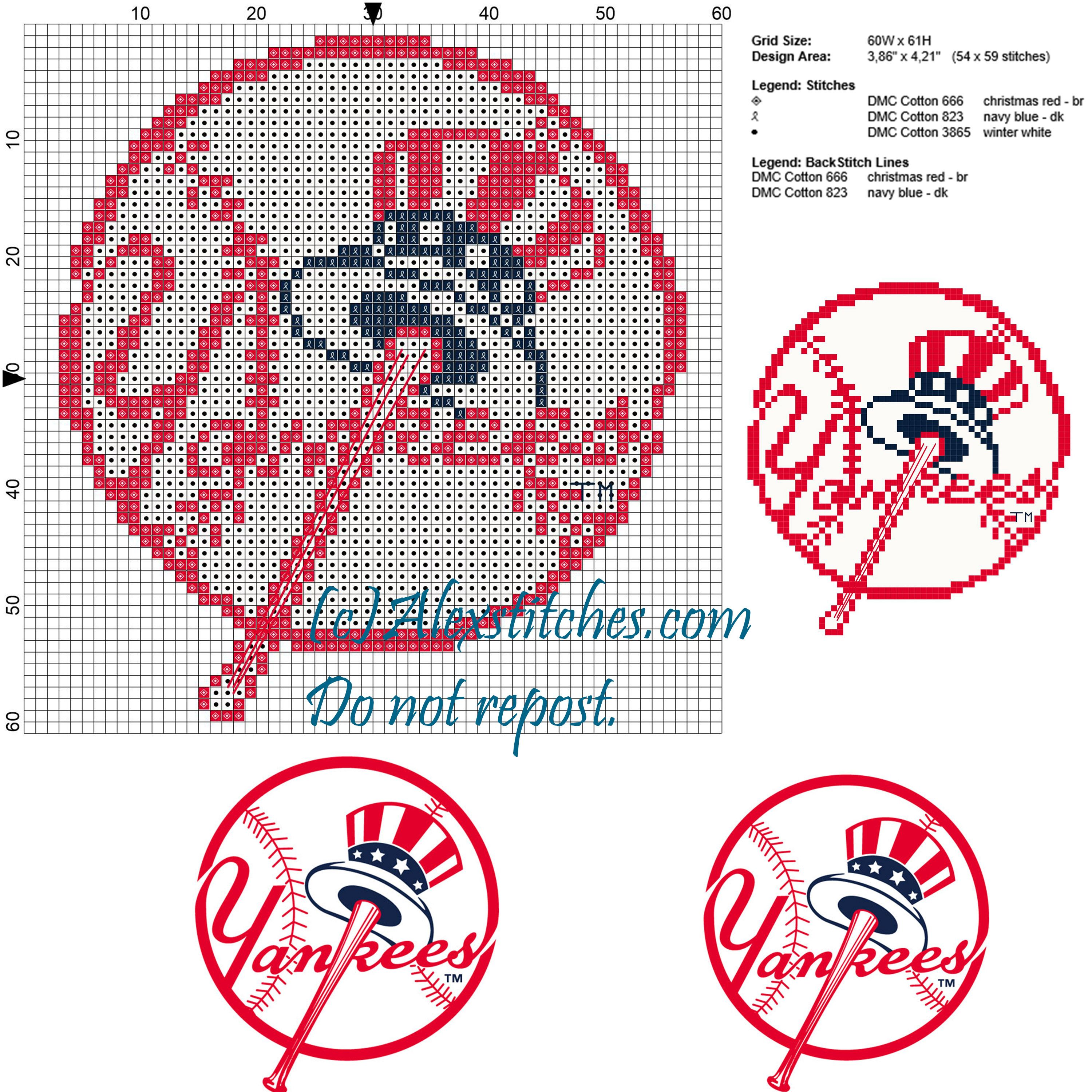 New York Yankees Major League Baseball MLB cross stitch pattern ...
