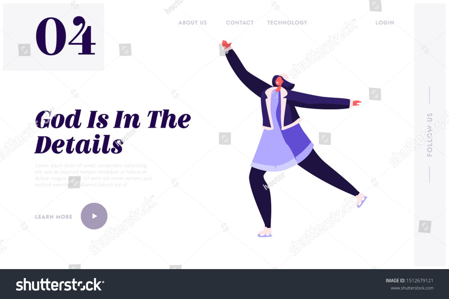 Girl Figure Dancing and Skating on Frozen Pond Website Landing Page Christmas Holidays Spare Time Amusement Happy Woman Winter Outdoor Activities Web Page Banner Cartoon...