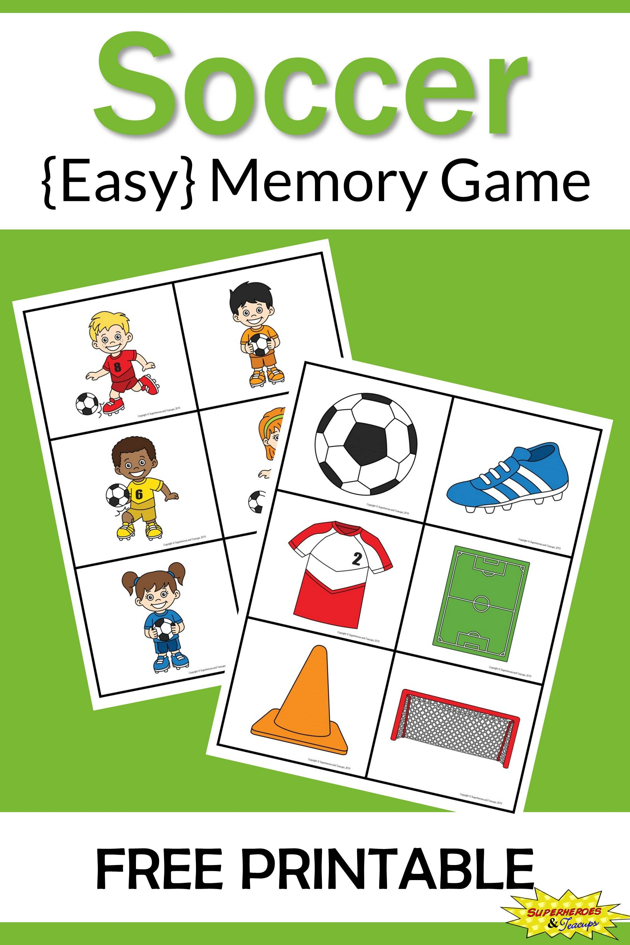 Soccer Memory Game Free Printable Learning Ideas for