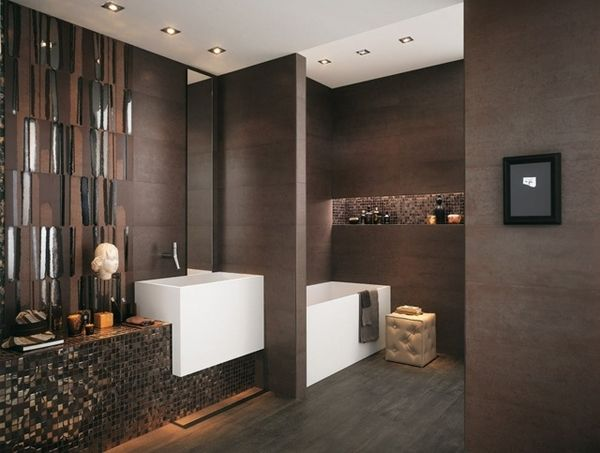 Bathroom Tiles Brown dark brown chocolate brown mosaic effect modern bathroom tiles