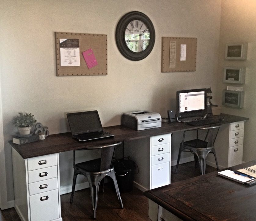 Two Person Wall Length Desk At The New House Ikea File Cabinets With Oak Plank Top Used General Fi Home Office Design Home Office Desks Office With Two Desks