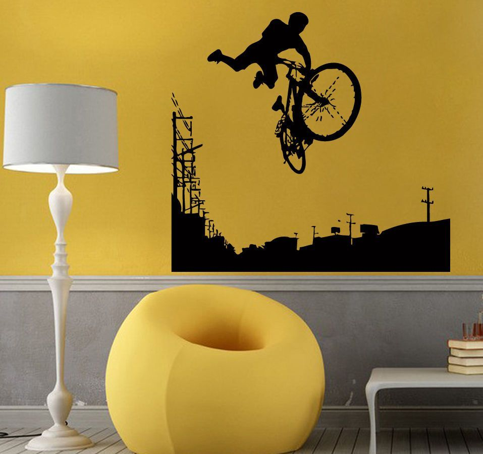 Wall Decals Vinyl Decal Sticker Art Riding Decor Boy Extreme Bike ...