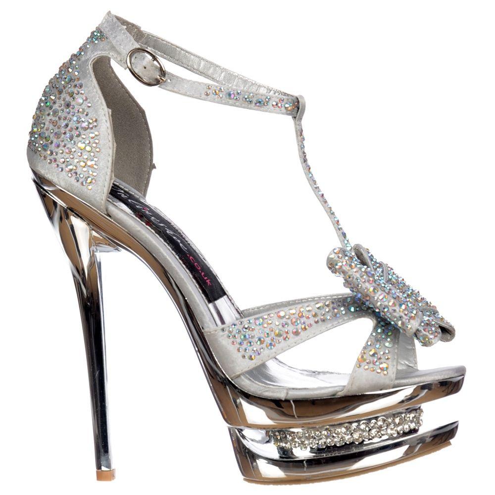 Silver Crystal High Heels  3798925795