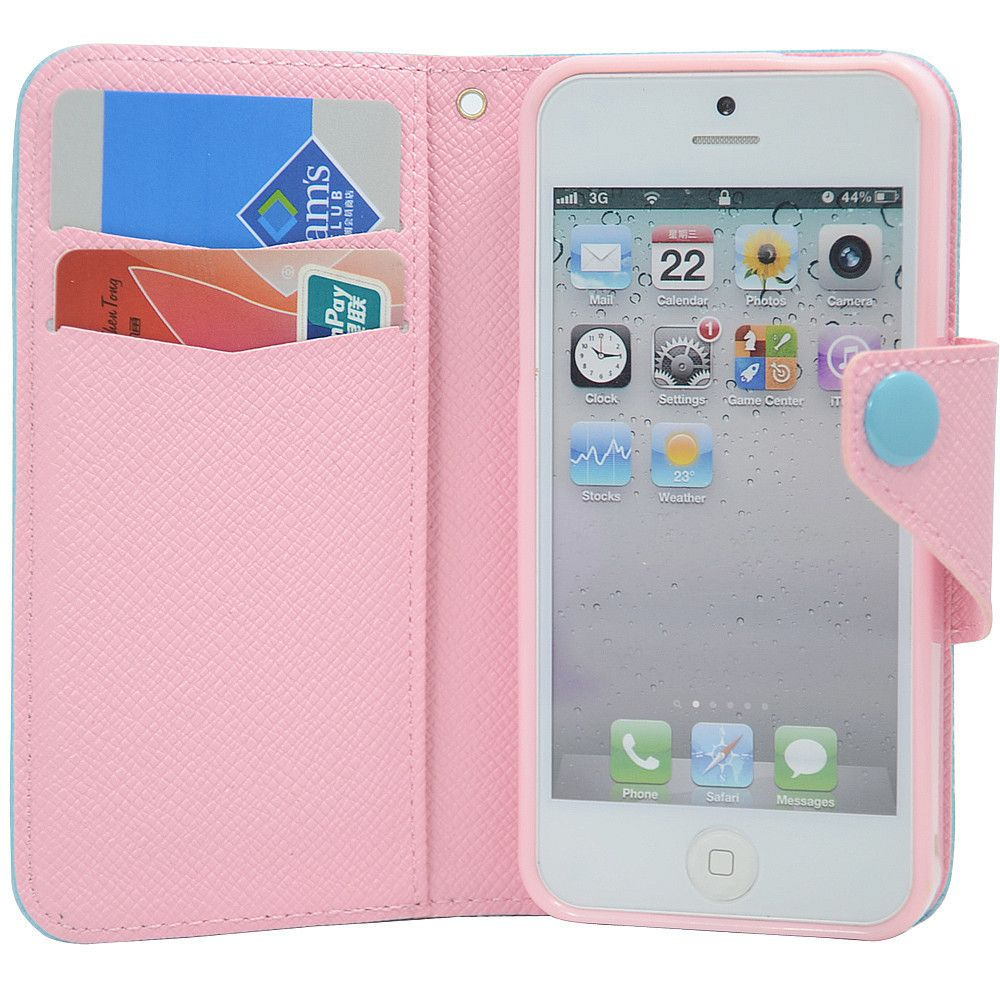Cute Candy Color PU Leather Flip Case Card Holder Pouch Wallet Case ...