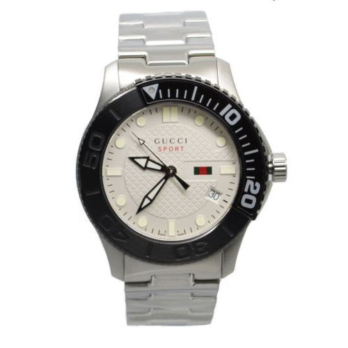 8a89cbc36f0 Gucci YA126250 G-Timeless Collection Watch with a Stainless Steel Color Stainless  Steel Band and Silver Dial Color