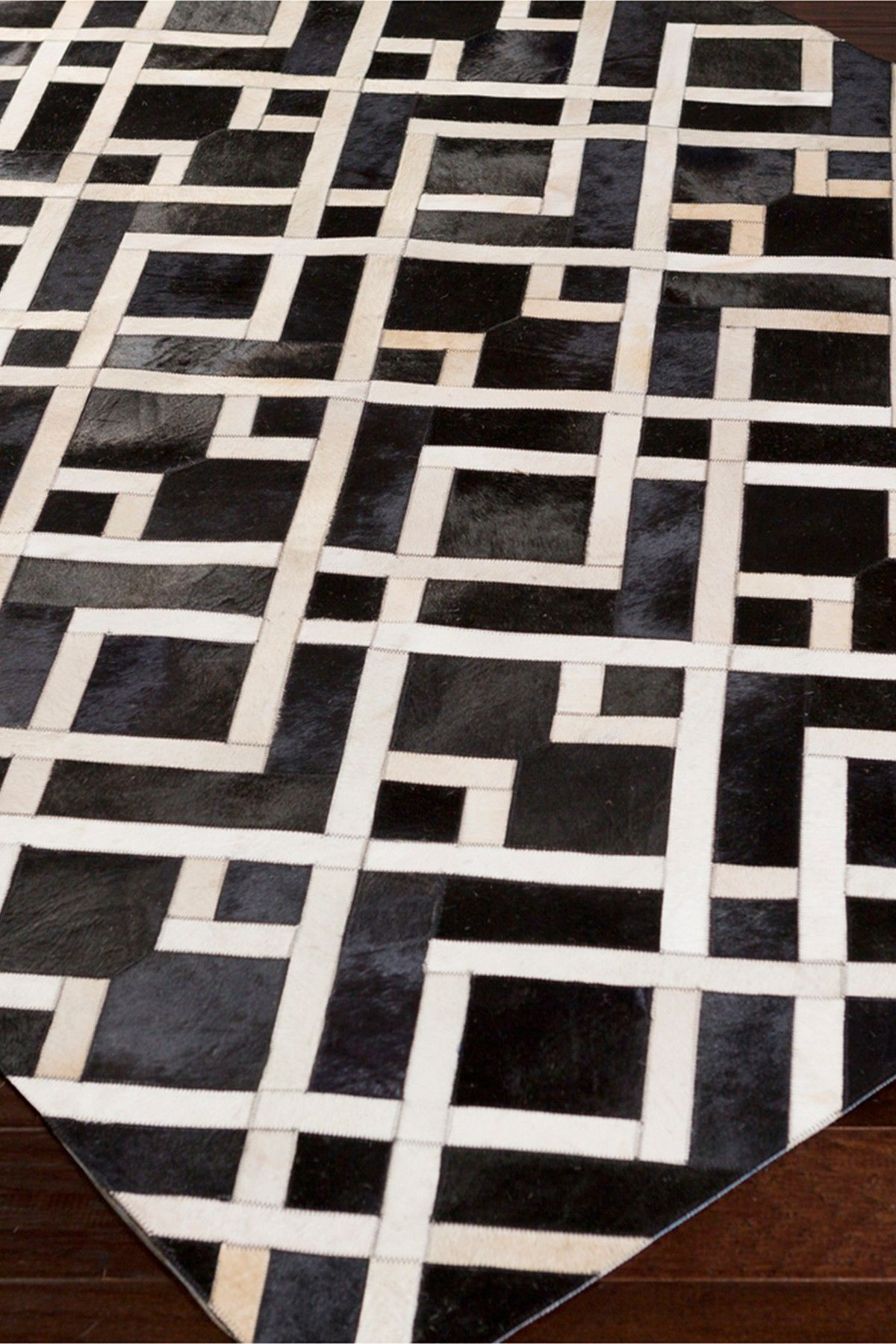 Trail Genuine Hair On Hide Area Rug - Black/Ivory by Surya on @HauteLook