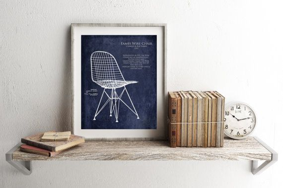 Eames wire chair blueprint style art print interior design gift eames wire chair blueprint style art print interior design gift gifts for her wife gift furniture blueprint mid century modern art malvernweather Gallery