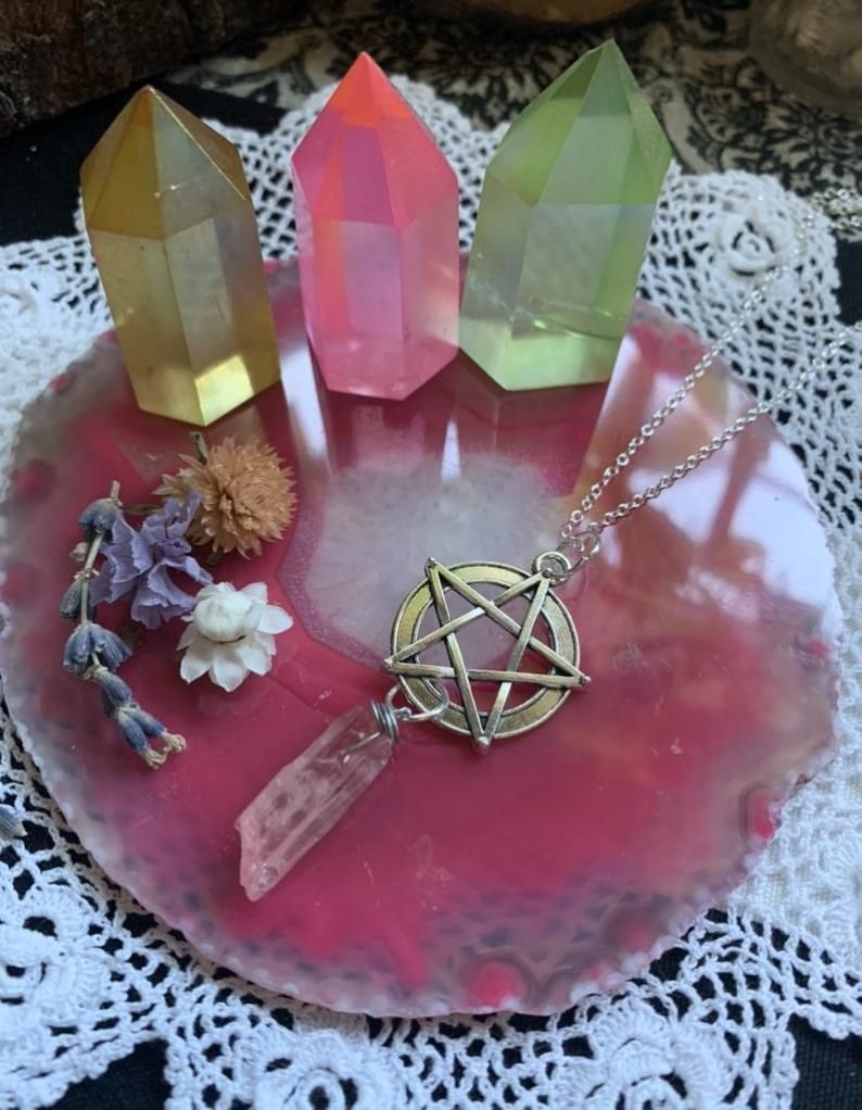 Pink Crystal Silver Pentagram Rose Aura Quartz Necklace ~Witch Aesthetic ~Wiccan Jewelry ~Gothic ~High Priestess