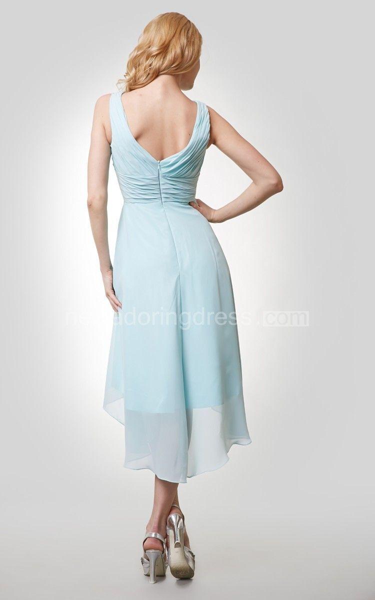 9e5cff5448 High-Low Chiffon Sleeveless V-Neck Dress With Ruching